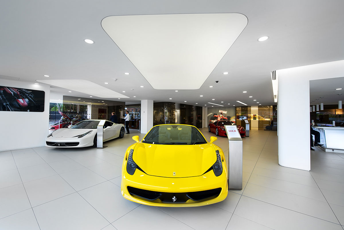 Stretch Ceilings Ltd Ferrari Car Showroom Lighting