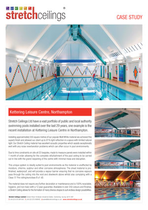 Stretch Ceilings Ltd Kettering Leisure Centre Case Study